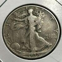 1938-D  WALKING LIBERTY SILVER HALF DOLLAR SCARCE DATE