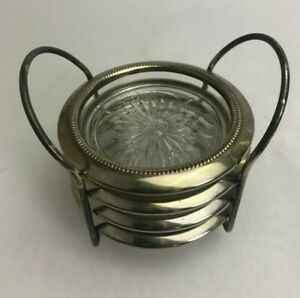 Vintage Pewter Glass Coasters Set of 4 with Pewter Holder