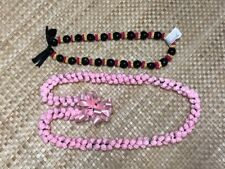Birthday Hawaiian Pink Yarn Girl's Leis Kukui Nuts Celebration 2 Leis New