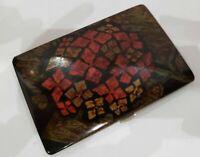 "Vintage Working  Cigarette Case / Hand Painted Enamel  / 5 x 3""   482/20"