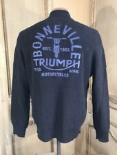 Lucky Brand Triumph Motorcycle Men's   Indigo Full Zip Sweater Jacket Large New