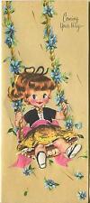 VINTAGE CUTE GIRL BLUE EYES AUBURN HAIR PONYTAIL TREE FLOWER SWING CARD PRINT