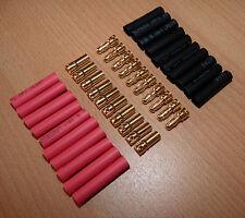 10 Paar 3,5mm Goldstecker Schrumpfschlauch Stecker Bananenstecker Connector Gold