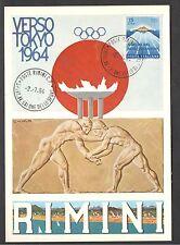 Cartolina Rimini 1964 Verso Tokyo Salone Dello Sport Annullo Speciale 02/07/1964