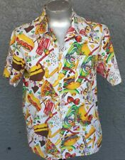 Hawaiian shirt, cotton, Junk food print, 1970's, Made in USA, size L