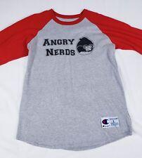"Champion brand ""Angry Nerds"" 3/4 raglan baseball T-shirt Men's Large Red White"