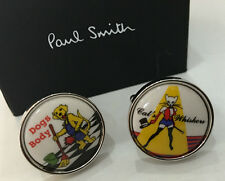 Paul Smith DOGS BODY & CATS WHISKERS Two Side Cufflinks with Round T Bar Swings