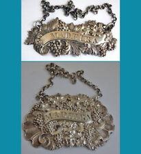 2 antique sterling silver MADEIRA wine labels Birmingham 1821 & 1840y
