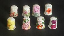 EIGHT 8 DECORATED ILLUSTRATED FLOWER PAINTINGS FINE CHINA SOUVENIR THIMBLES