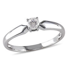Amour 1/5 CT TW Diamond Solitaire Engagement Ring in 10k White Gold