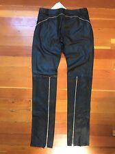 Auth. GIANFRANCO FERRE Women's Black Leather Rocker Pants Zippers Sz 42 US 6