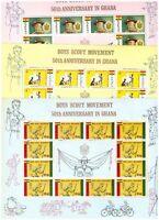 S14445) Scout & Girld Guide - MNH Ghana 1967 3v Full Mini Sheet (x3)