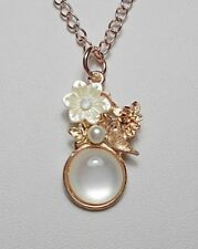 Flower, bird, enamel pearly pendant rose-gold colour - 17'' chain