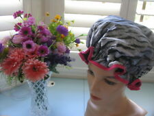 SHOWER CAP HAT   AUSTRALIA  HANDMADE, WATERPROOF white tiger  HOT PINK trim