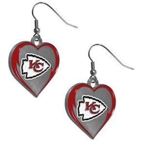 Kansas City Chiefs Heart Dangle Earrings NFL Football Licensed Jewelry
