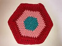 """Vintage 1970's Miniature Hand Crafted Crocheted 5.5"""" Hexagon Rug for DOLLHOUSE"""
