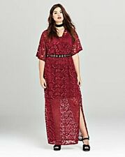 BNWT SIMPLY BE BERRY STRETCH LACE MAXI  DRESS SIZE UK 20 LINED TO KNEE
