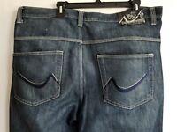 Bklyn Express Jeans Mens Blue Denim Embroidered Pockets Straight Leg Zip 40X34
