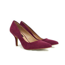 David Aaron Womens sz 6.5 Chainey Burgandy Faux Suede Pointed Toe Heels