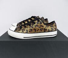 Converse All Star Low Top Junior Sz 3 Gold/Black/Brown Leopard Skin  Glitter