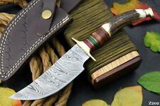 Custom Damascus Steel Hunting Knife Handmade With Stag Horn Handle (Z202)