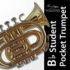 WAGNER POCKET TRUMPET Gold Bb • BRAND NEW • Case • Plays same as fullsize horn