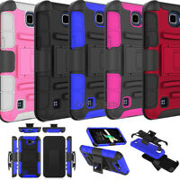 For LG K4 VS425/ Spree/ Rebel LTE Phone Case Hybrid Holster Stand Armor Cover