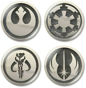 4 x Star Wars Silver 32mm BUTTON PIN BADGES Empire Rebel Mandalorian Logo Jedi
