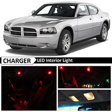 2006-2010 Dodge Charger Red Interior + License Plate LED Lights Package Kit