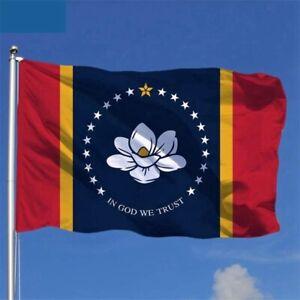 Commercial Grade Nylon Mississippi Flag-In God We Trust-3'x5'-USA MADE-FAST SHIP