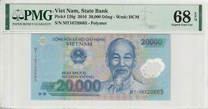 Vietnam PMG Certified Banknote UNC 68 2016 20000 Dong EPQ Superb Gem Polymer 120