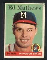 1958 Topps #440 Eddie Mathews VGEX Braves 121810