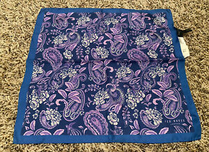 NEW Ted Baker Floral Paisley Silk Pocket Square Handkerchief Purple/Blue NWT