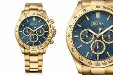 Hugo Boss Men's Ikon Gold Chronograph Blue Dial Watch - HB1513340 - UK
