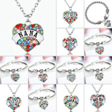 Multi-color Gifts For Women Heart Pendant Necklace Bracelet Keychains Keyrings