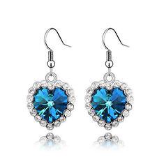 Heart Shape Ocean Blue Crystal Earrings