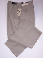 NWT SANSABELT 4 SEASONS WOOL BLEND FLAT FRONT DRESS PANTS BEIGE 40 LONG UNHEMMED