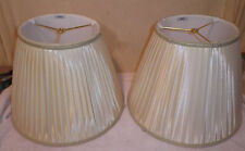 """Pair Signed Stiffel Lined & Pleated Lamp Shades 16"""" Diameter x 12"""" Tall"""