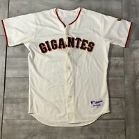 RARE San Francisco Giants Gigantes #8 MLB Majestic Ivory Game Used Jersey 48