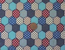 DENIM BLUE SPOTTY HEXAGONAL PATCHWORK DESIGN- 100% COTTON FABRIC FQ'S