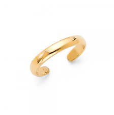 14K Solid Yellow Gold Toe Ring Adjustable - Polished Plain Round Foot Band Women