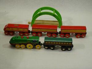 Brio Thomas and Friends  Green Wooden Train Bridge and some BRIO TRAINS