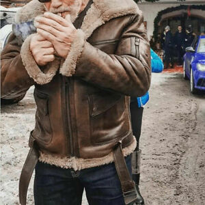 Mens PU Leather Fur Lined Coat Bomber Flight Biker Jacket Winter Parka Outwear