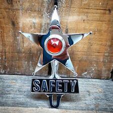 SAFETY STAR AMBER DOT LIGHT VTG STYLE LICENSE PLATE TOPPER RAT HOT ROD LOWRIDER
