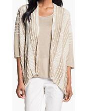 Lafayette 148 New York Sweater XL Pintuck Stripe Open Cardigan Beige Stripe NWT