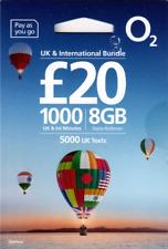 O2 SIM: £20 UK & International Bundle: 1000 international mins, 5000 UK SMS, 8GB