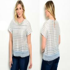 T54 New Womens Fashion Blue Silver Plus Size 18/20 Lace Work Office Blouse Tops