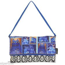 Laurel Burch FLAP CLUTCH Indigo Blue Cats Butterflies Med Shoulder Bag NEW 2016
