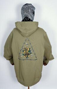 Huf Worldwide Sweatshirt Hooded Pullover Hoodie Dystopia Dried Herb in M