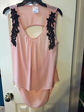 Jella Couture Size Medium Pink/blush Sleeveless Top With Black Applique